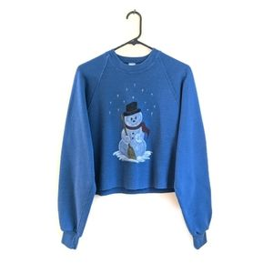 Vintage 90s Blue Snowman Cropped Crew Sweater